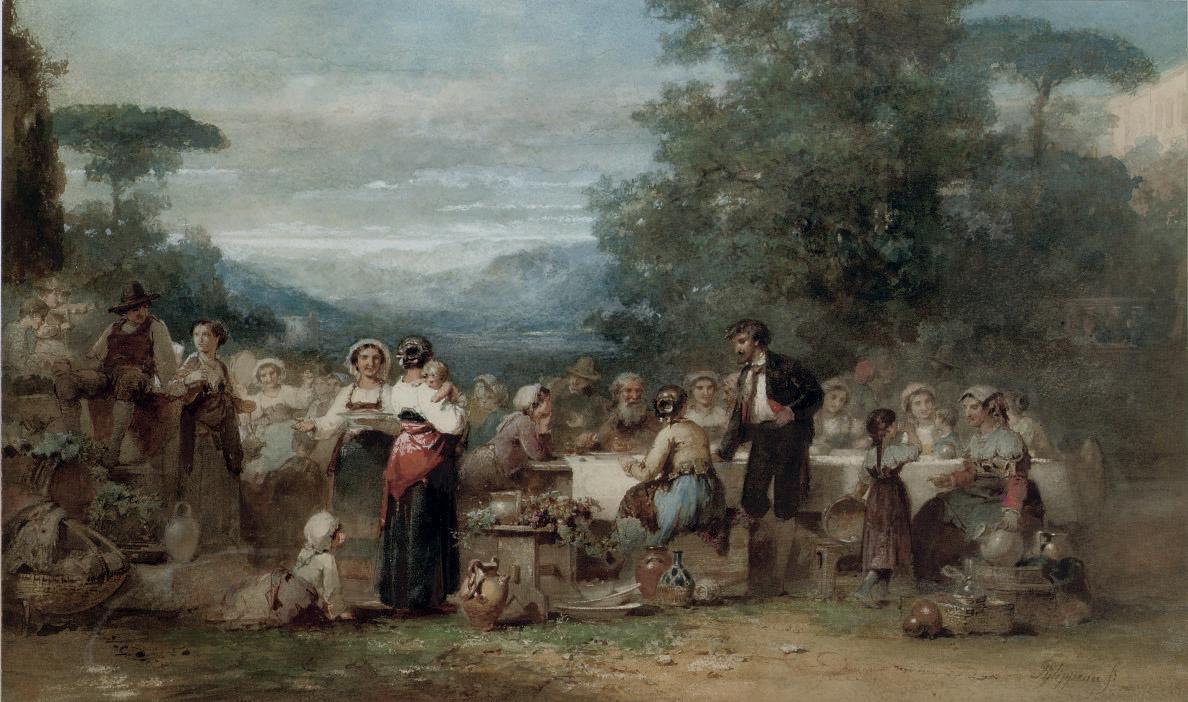 A festive banquet in an Italian landscape