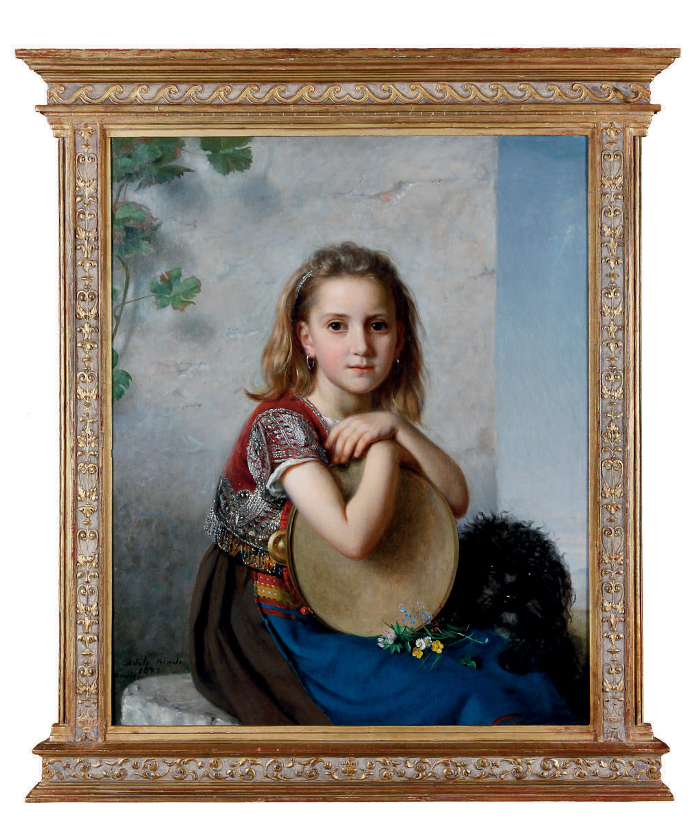 A portrait of a young girl and her dog