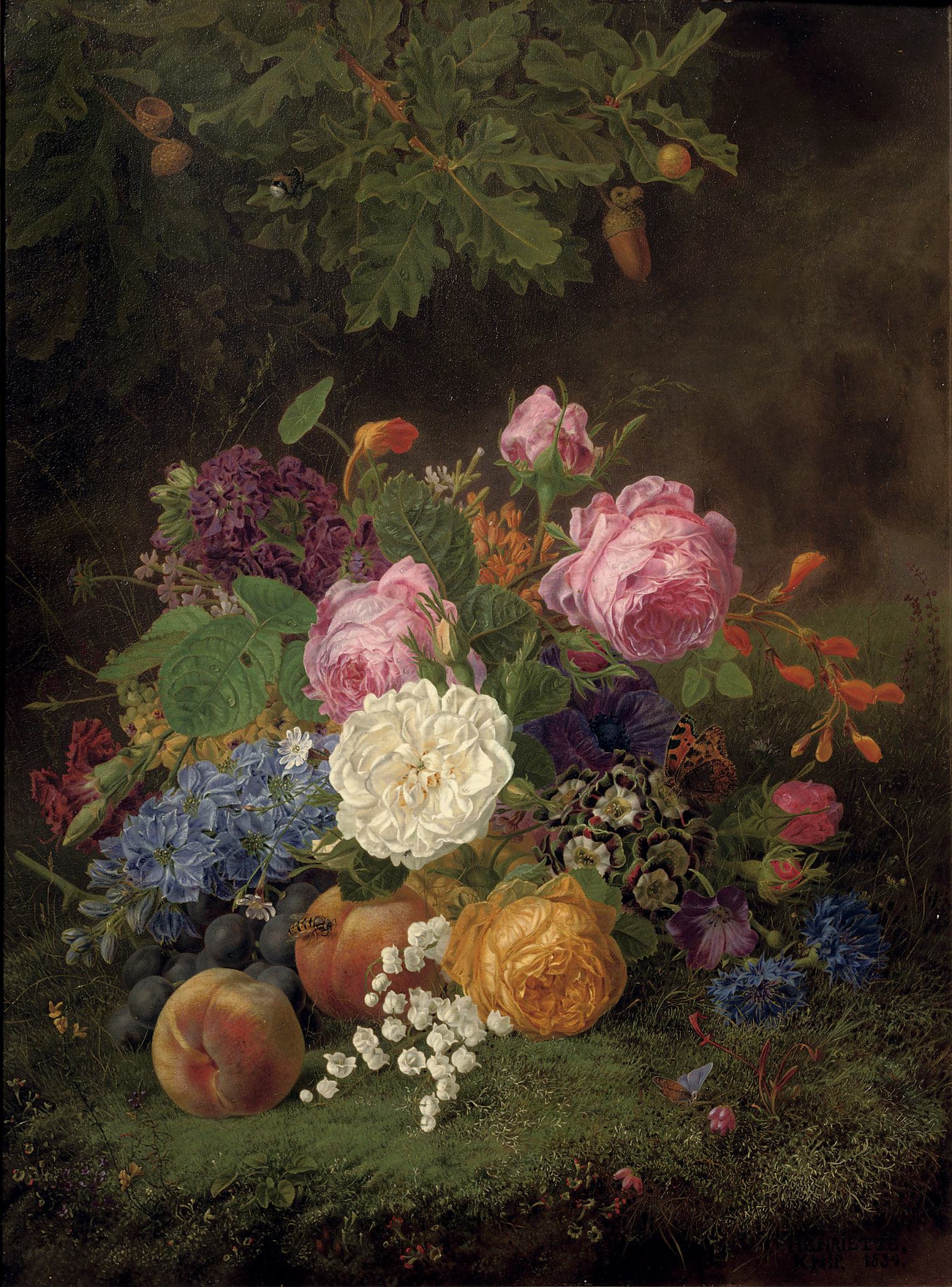 A colourful bouquet of flowers and various fruits on a forest floor