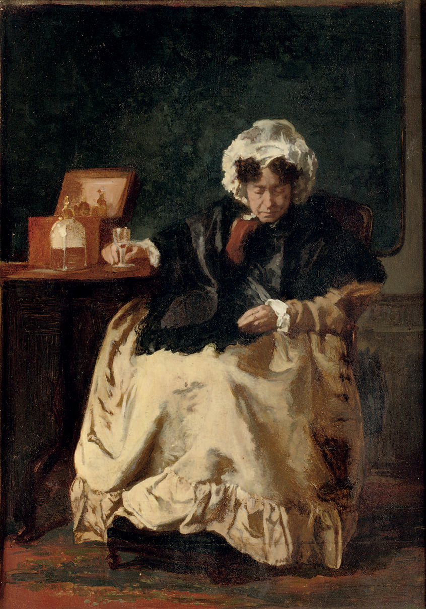 Dame met likeurglaasje: enjoying a drink