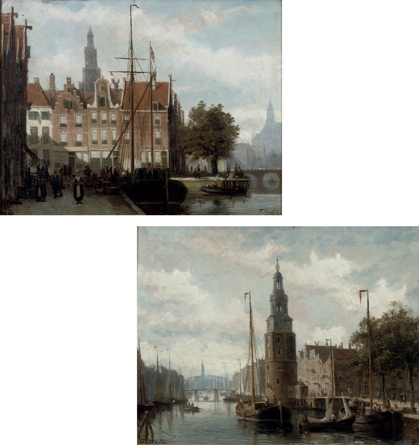 The Montelsbaantoren, Amsterdam; and A view of the Spaarne, Haarlem