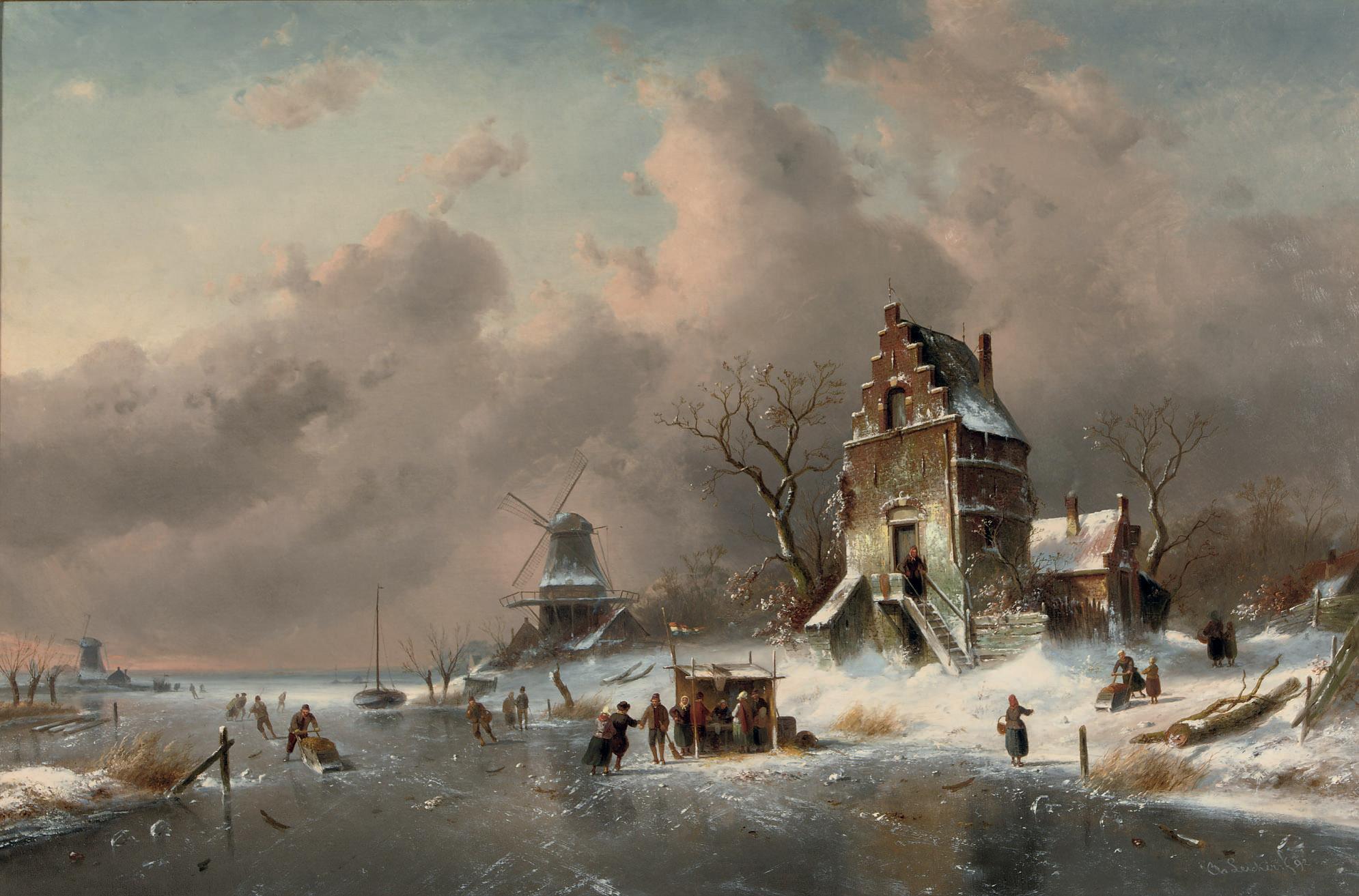 Numerous skaters near a koek-en-zopie on a frozen waterway by a mansion