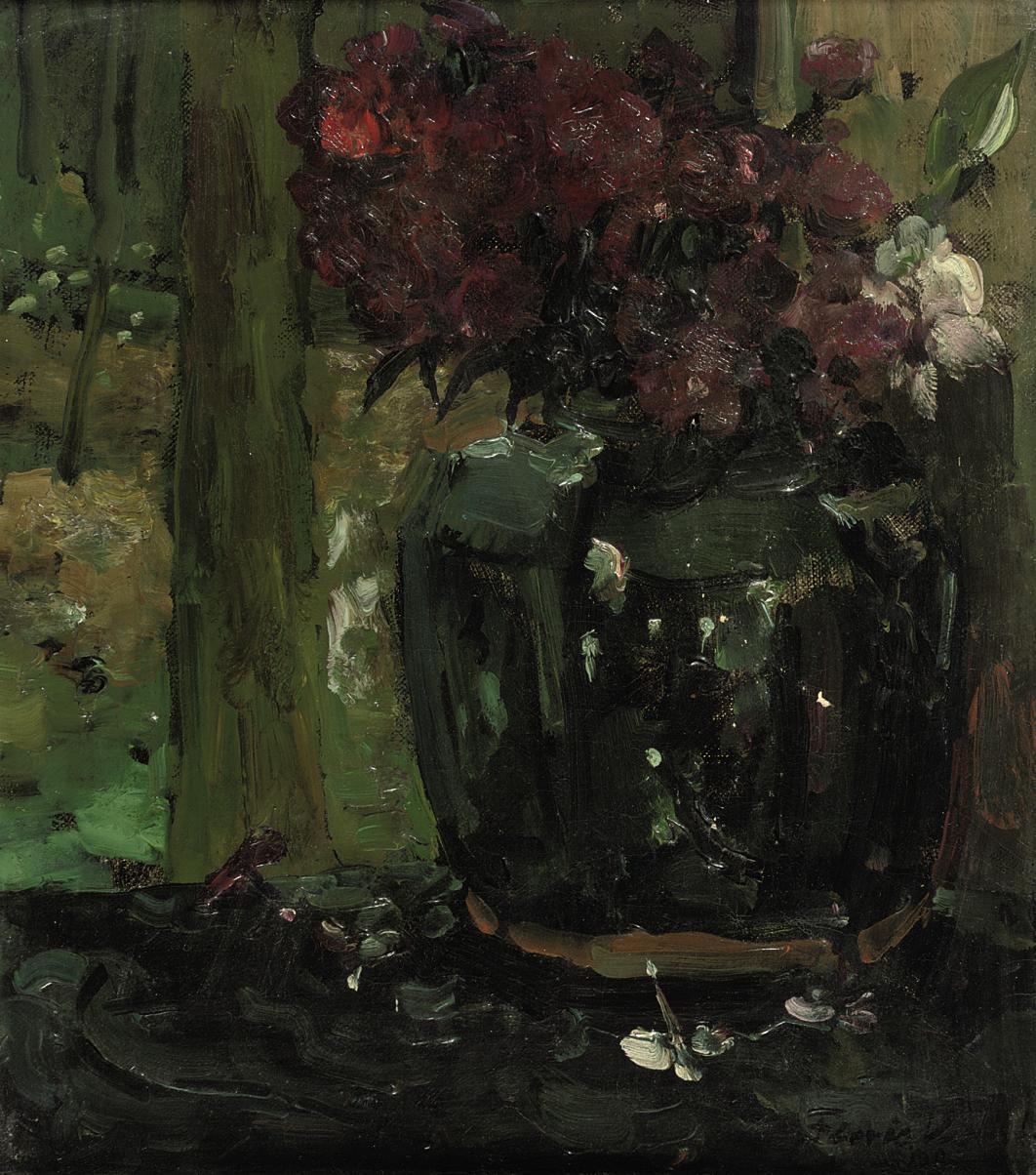 Gemberpot met klimroosjes en floxen: Ginger Jar with Climbing Roses and Phloxes