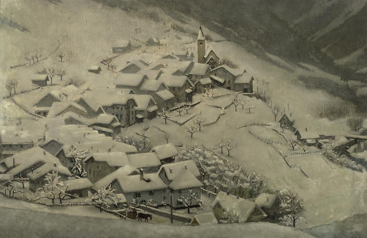 A snow covered Village