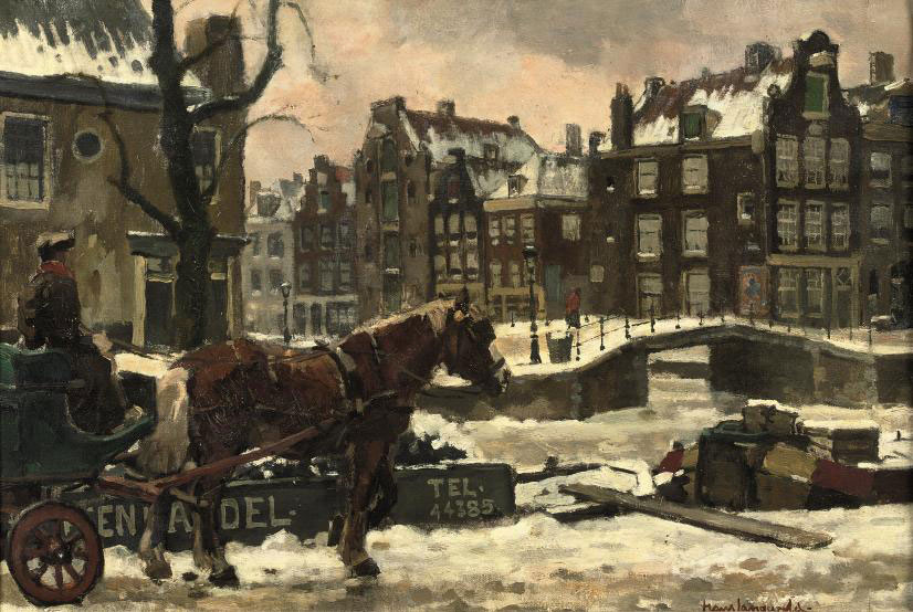 Horse with a carriage in Amsterdam