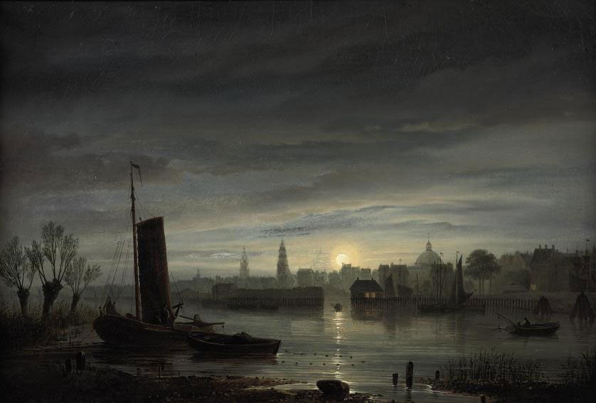 A view of Amsterdam at dusk