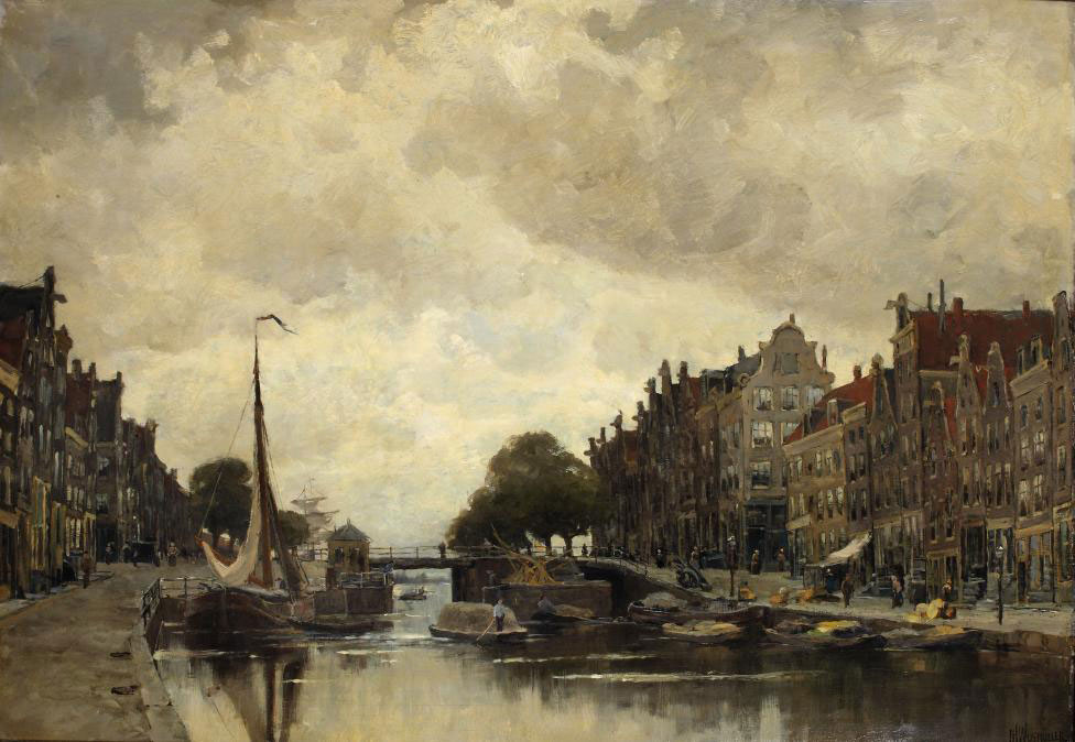 Korte Prinsengracht with the Eenhoorn lock and the Westerdok beyond, Amsterdam