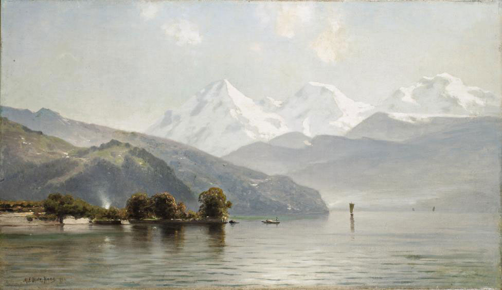 A view of the Thunersee with the mountains Eiger, Mönch and Jungfrau beyond, Switzerland