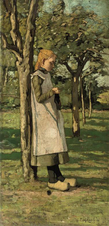 Knitting in the garden (recto); An extensive river landscape (verso)
