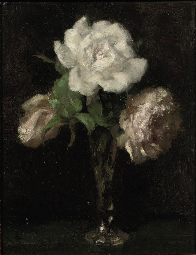 Pink and white roses in a vase