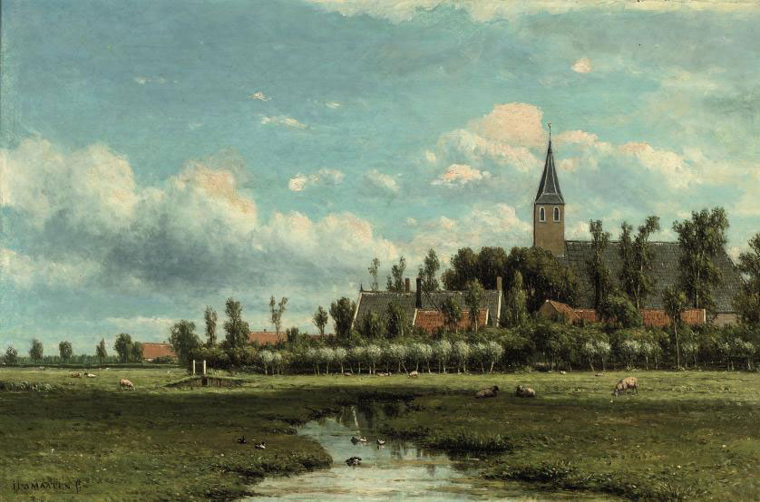 Dutch polder landscape with a village beyond