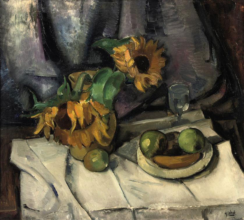 A still life with sun flowers and apples on a table