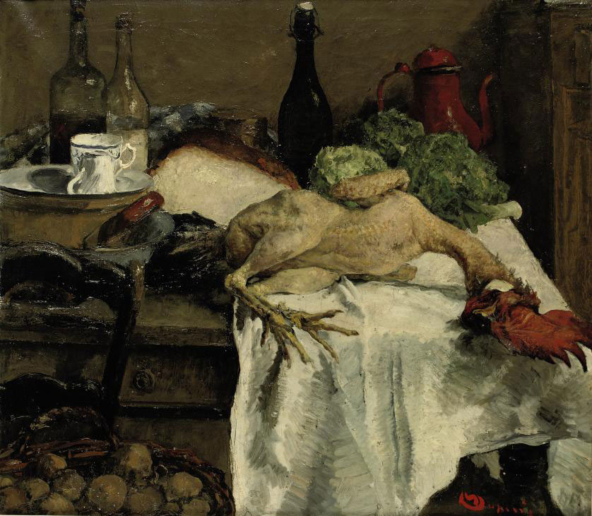 A kitchen still life with a rooster, bread and cabbages