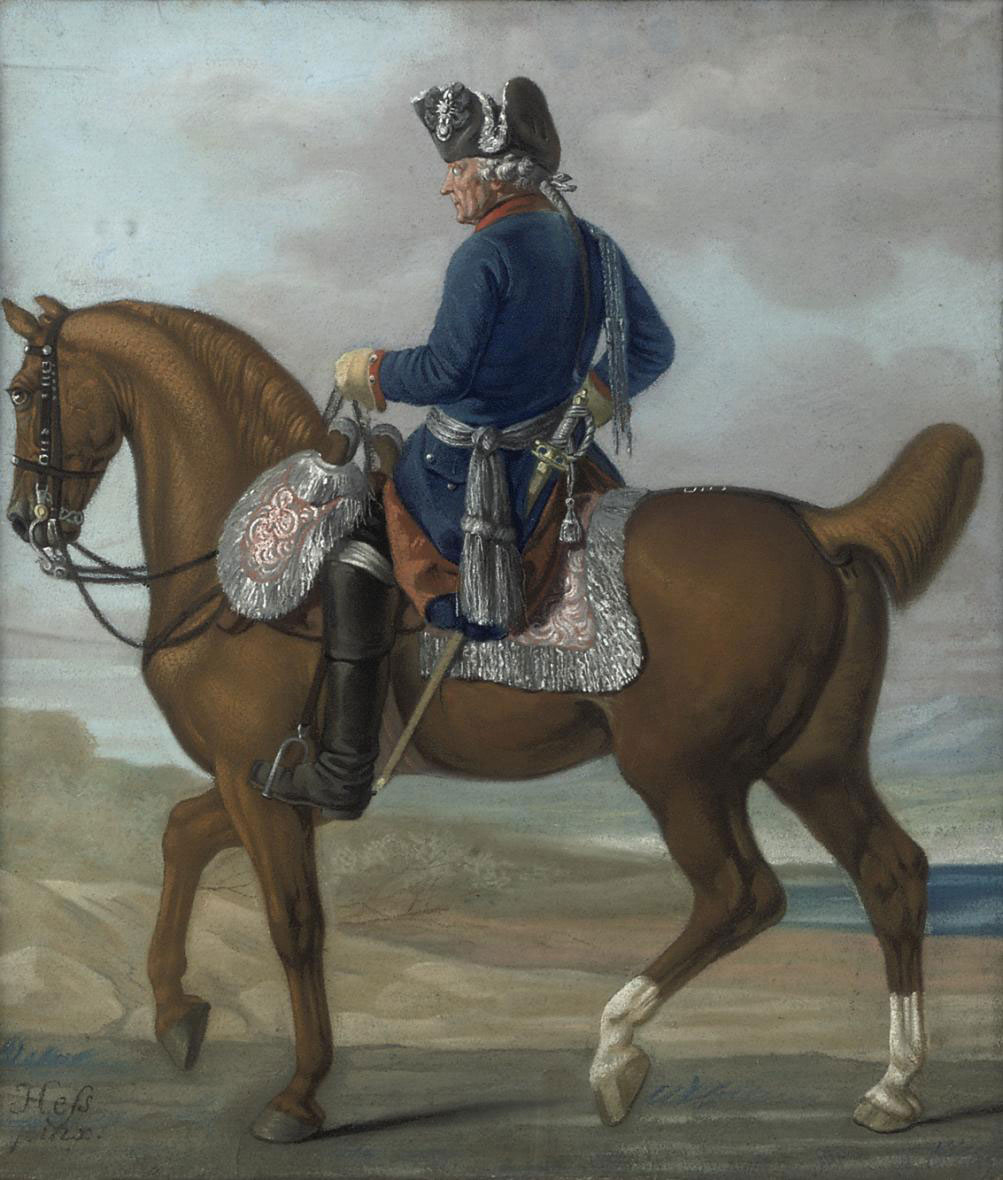An equestrian portrait of King Frederick II of Prussia (1712-1786), in military dress