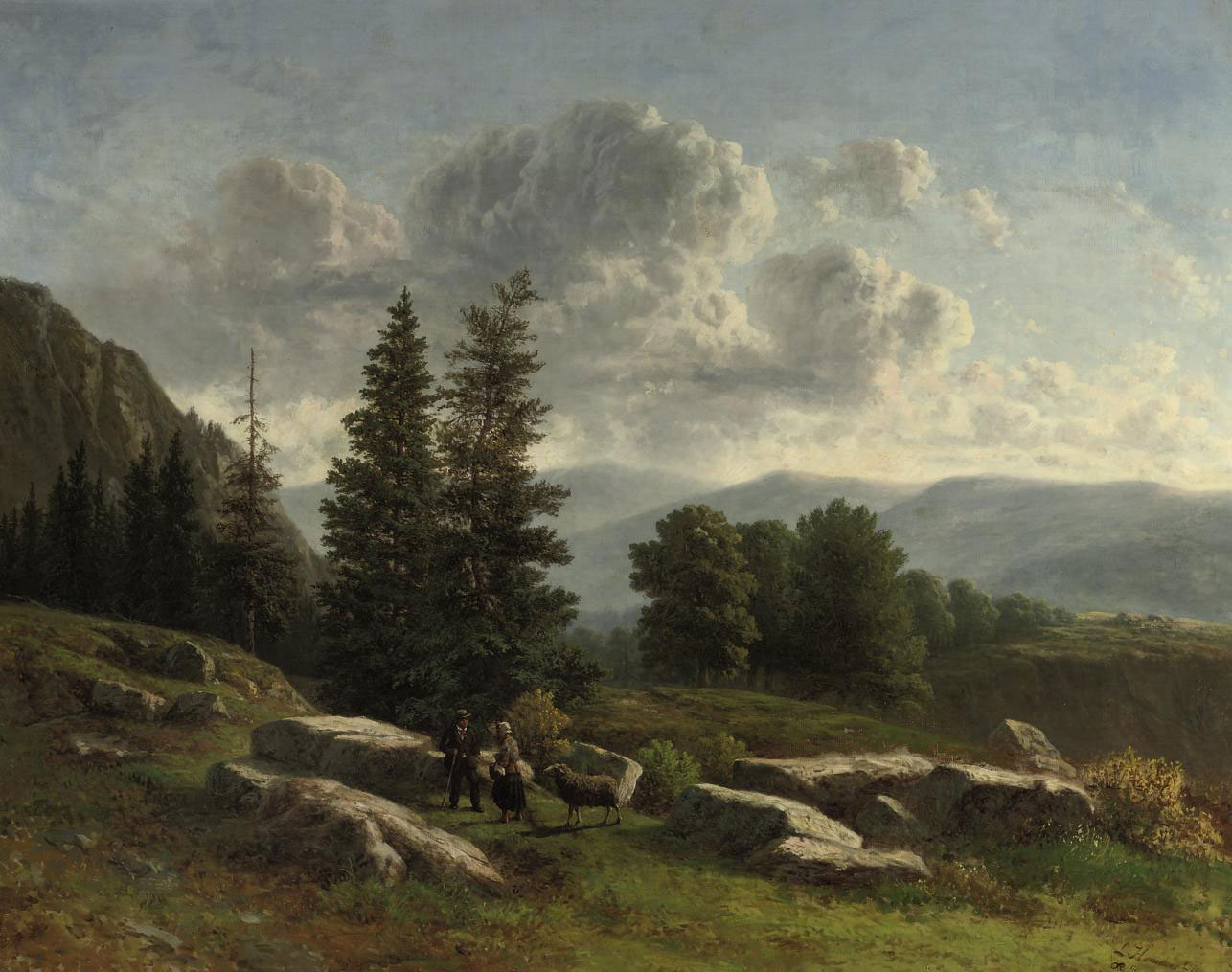 Travellers in mountain landscape