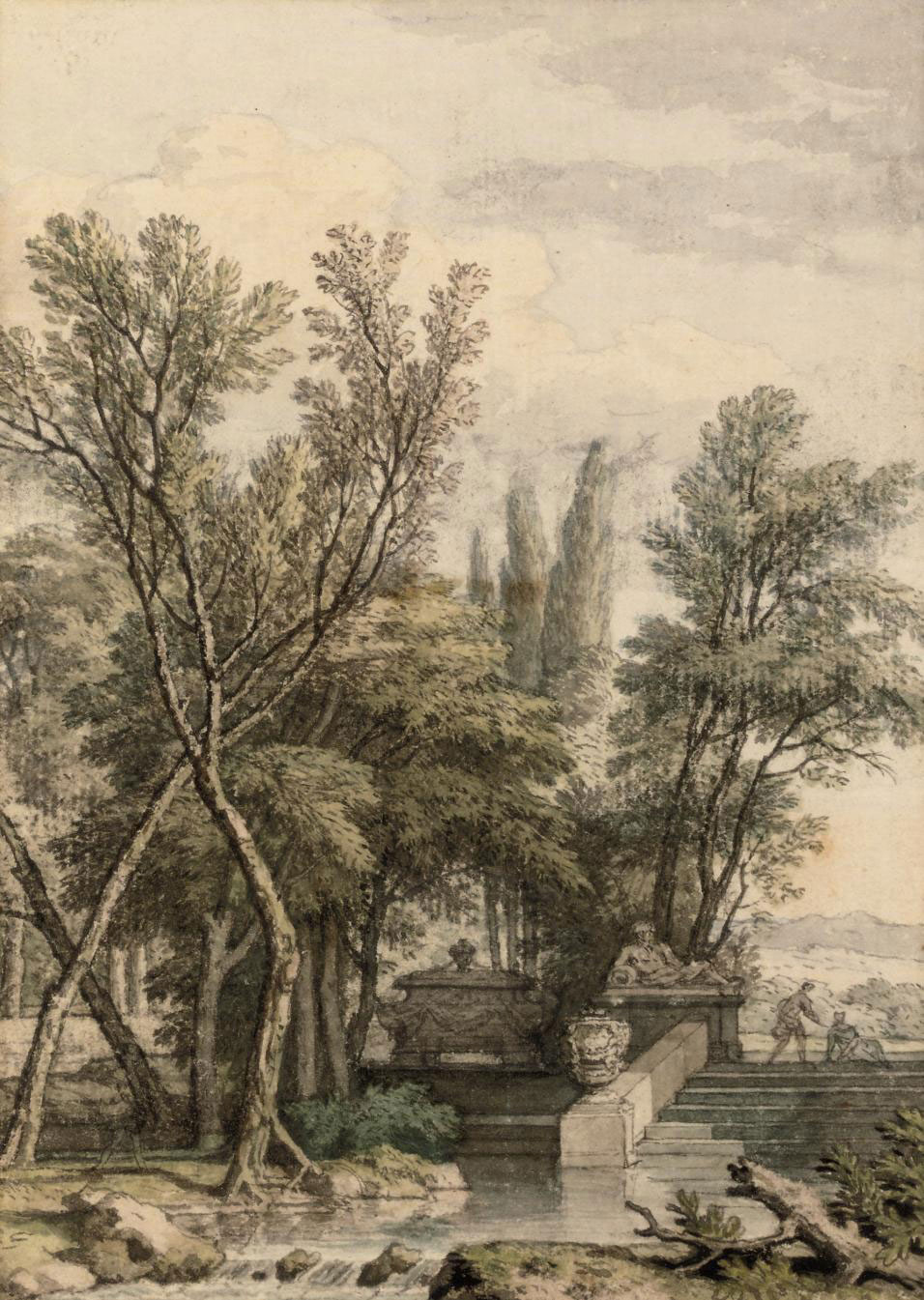 A park landscape with a marble tombe, sculpture and urn
