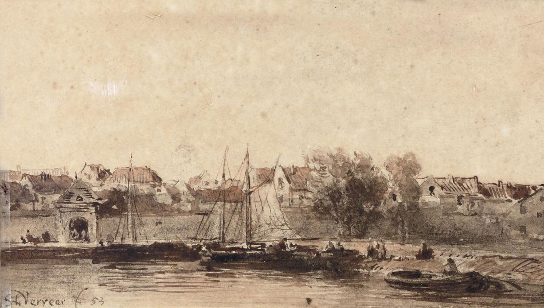 Ships near the walls of a Dutch city