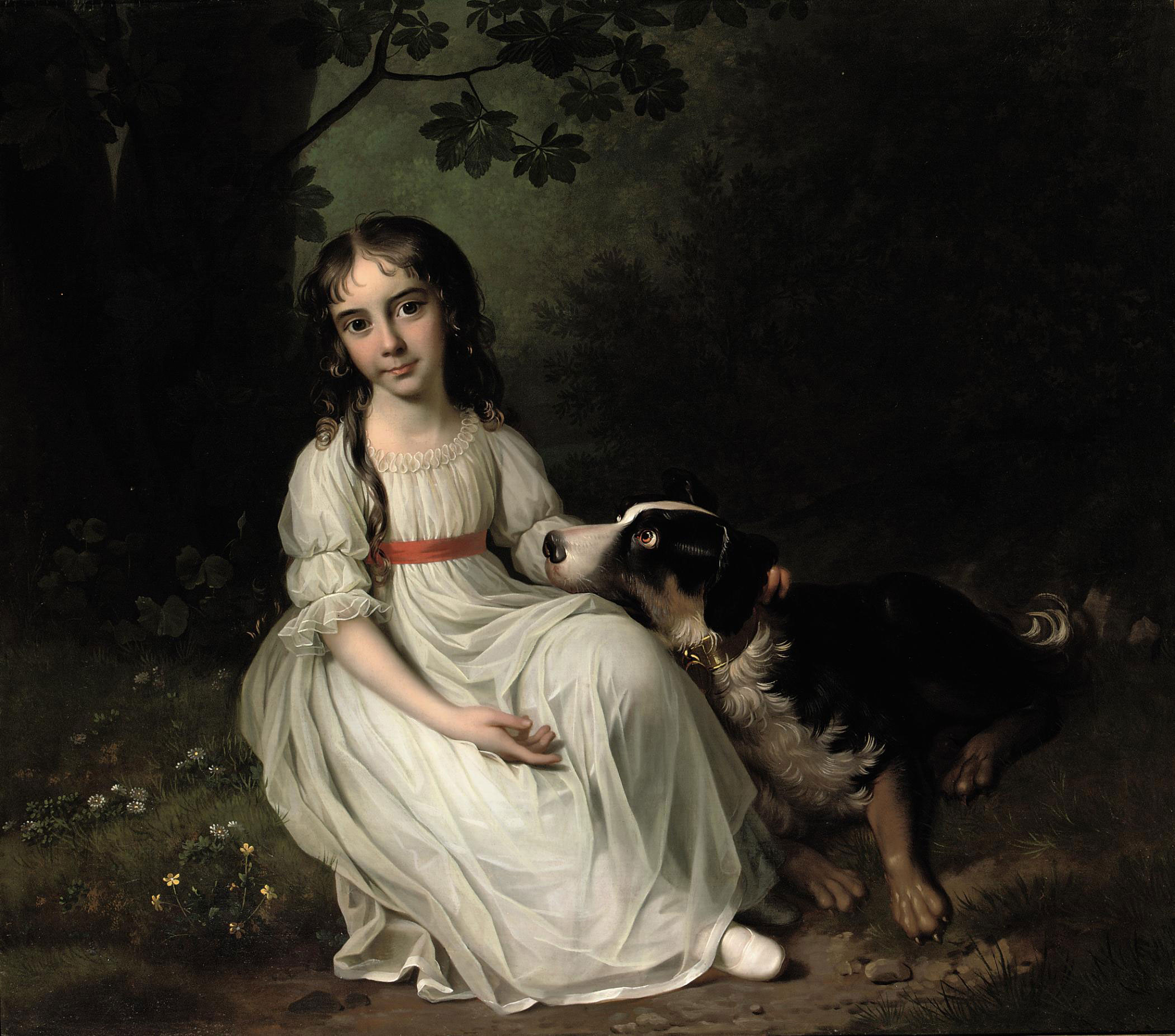 Portrait of Frederikke Maria Sophia Brockdorff, seated full-length, in a white dress, in a park landscape with her dog beside her