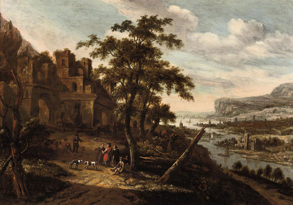 An extensive Rhine landscape with figures conversing outside a town gate