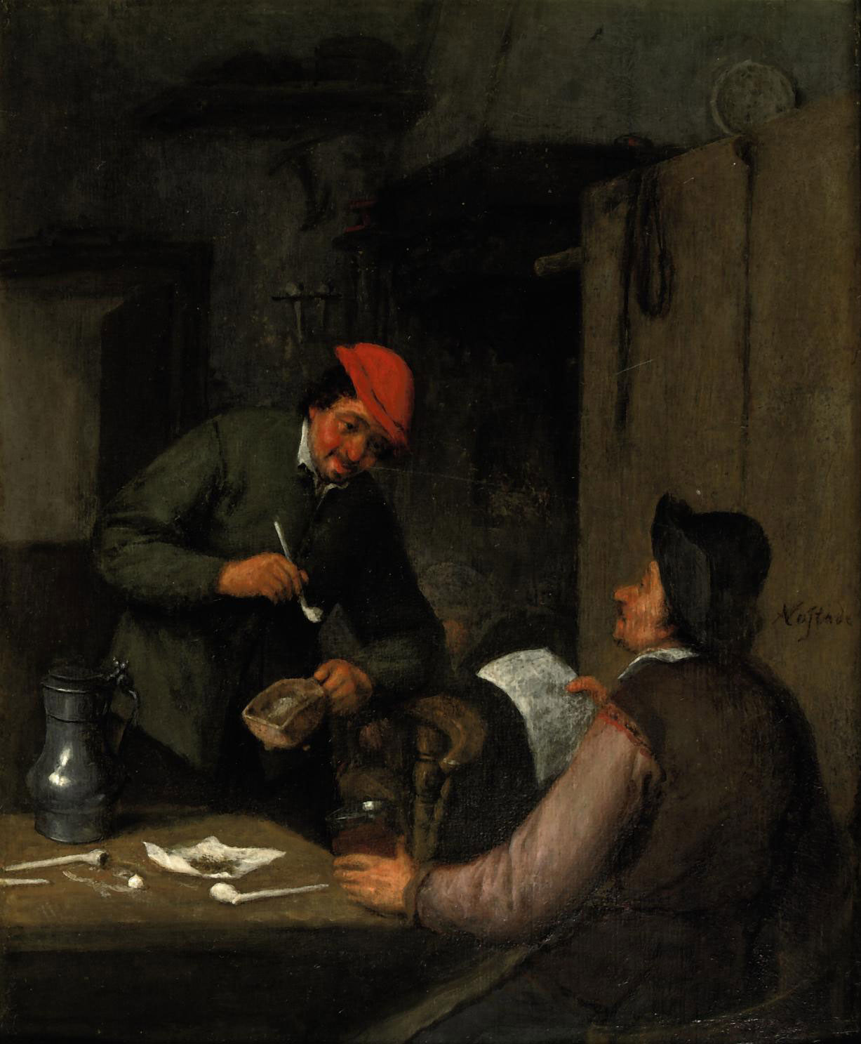 Two peasants smoking, drinking and reading in an interior