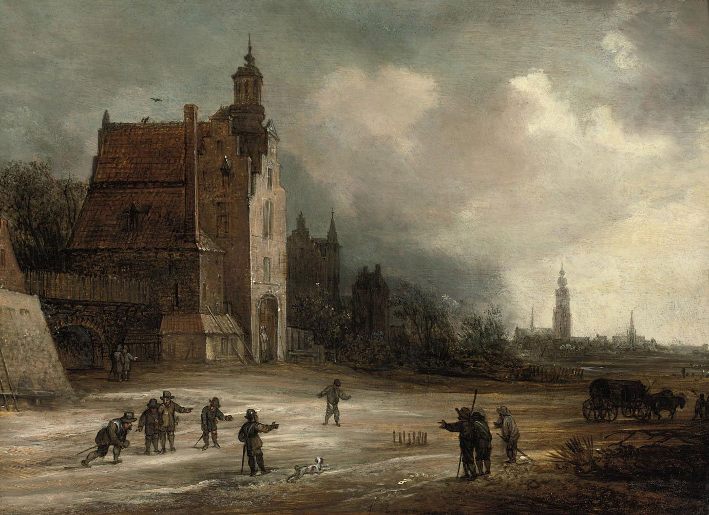 Soldiers playing skittles on a road by a manor house, a view of Breda beyond