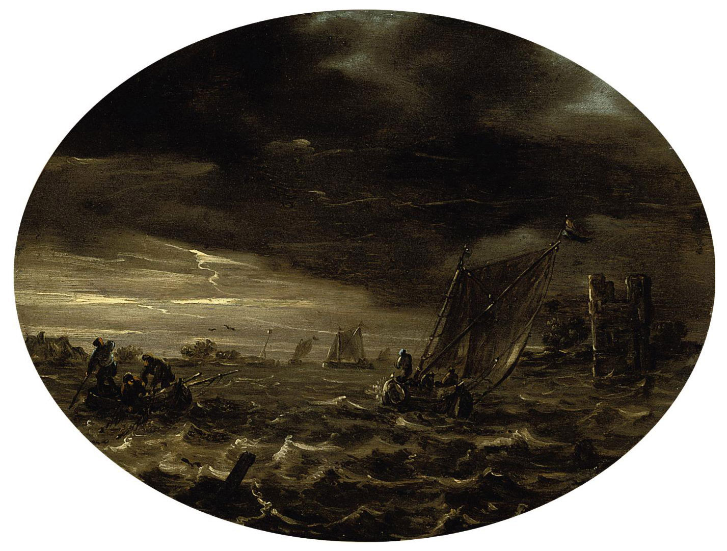 A moonlit river landscape with fishermen in choppy waters