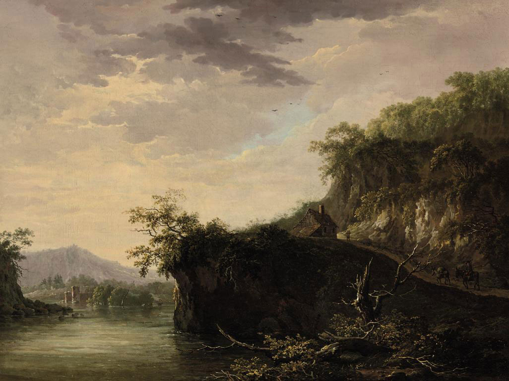 A mountainous river landscape with figures on a track