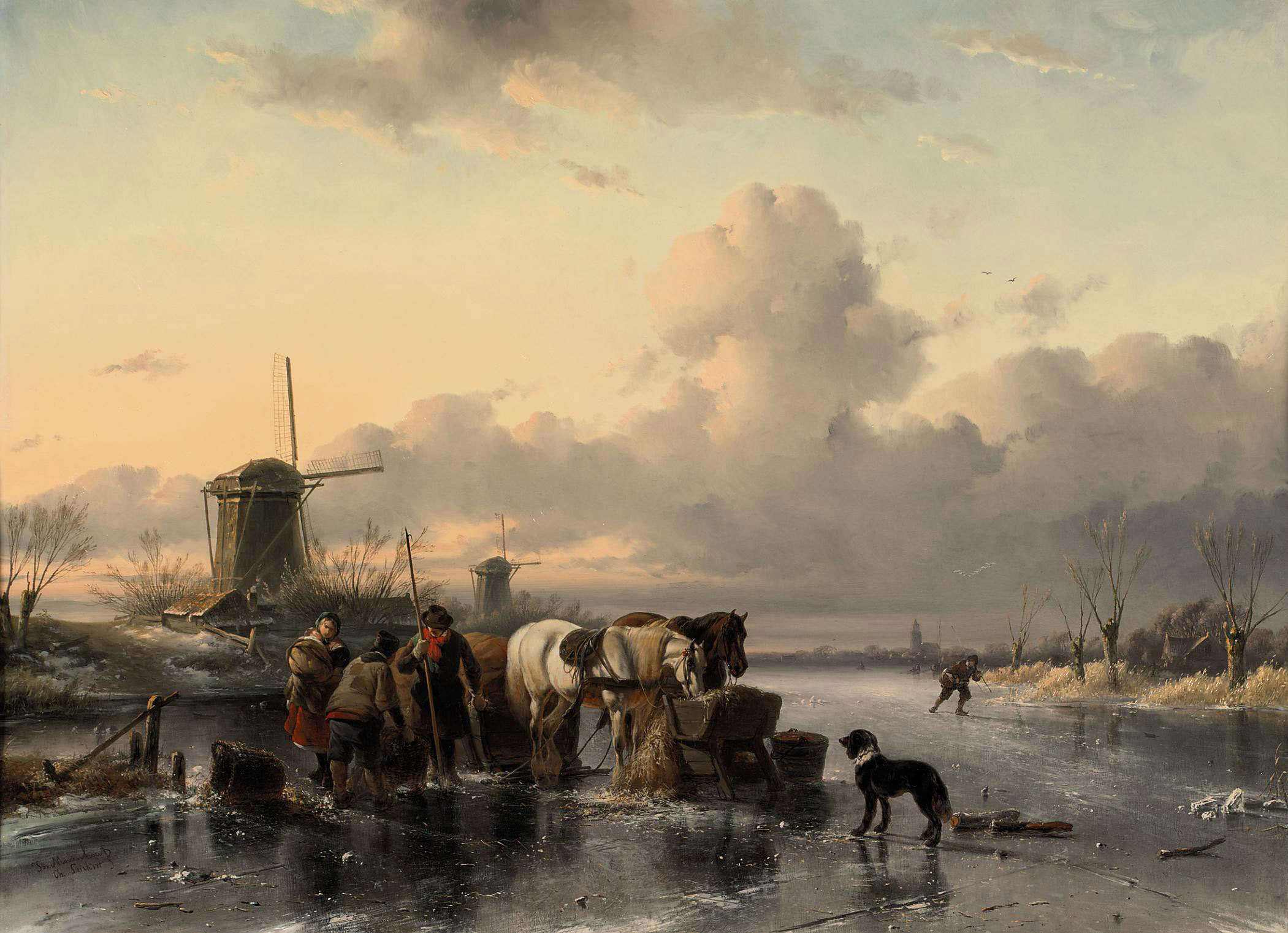 Tending to the horses on a frozen river