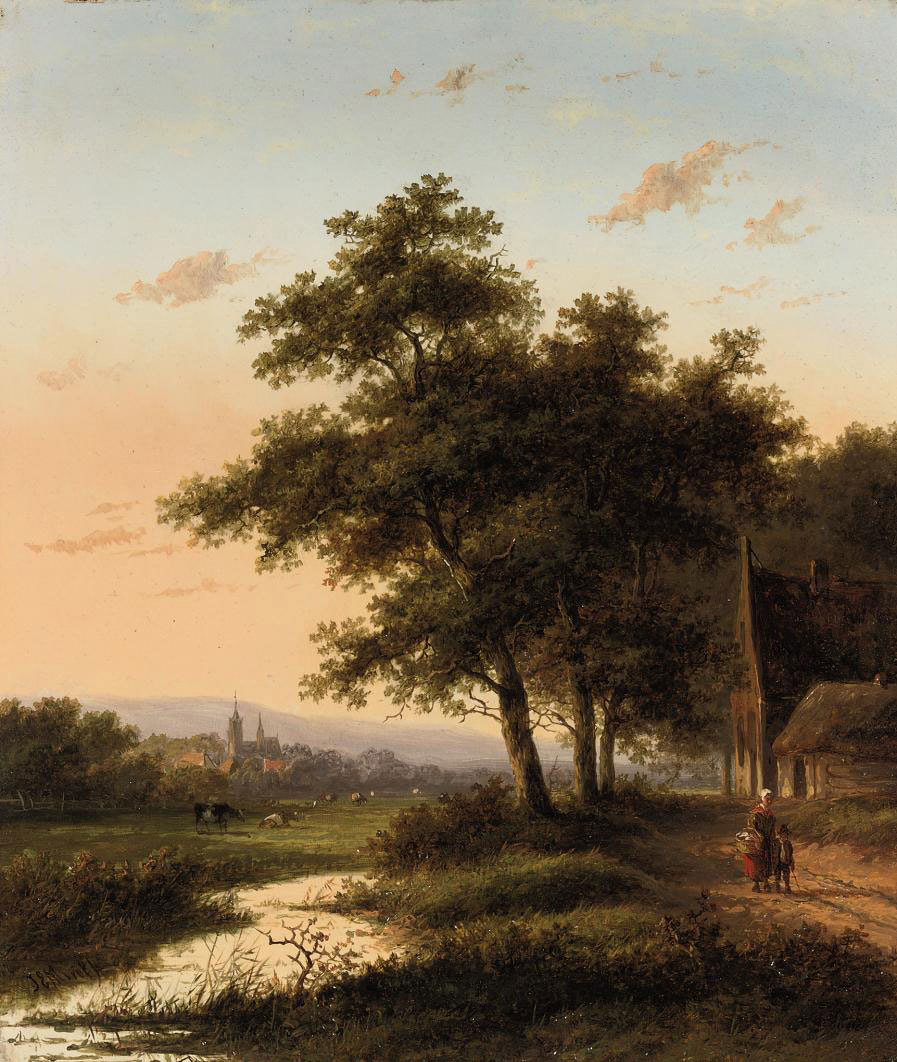 Travellers on a country road, a town in the distance