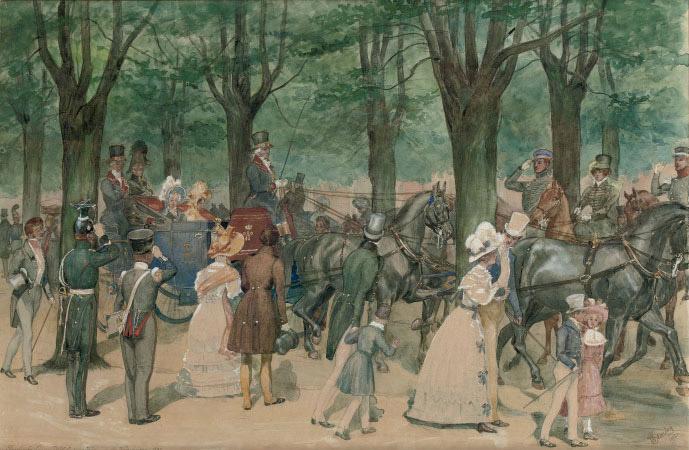Queen Wilhelmina on a riding tour