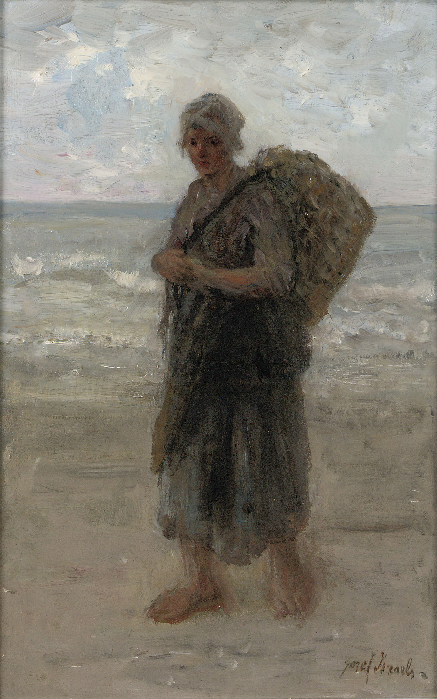 A fisherwoman on the beach