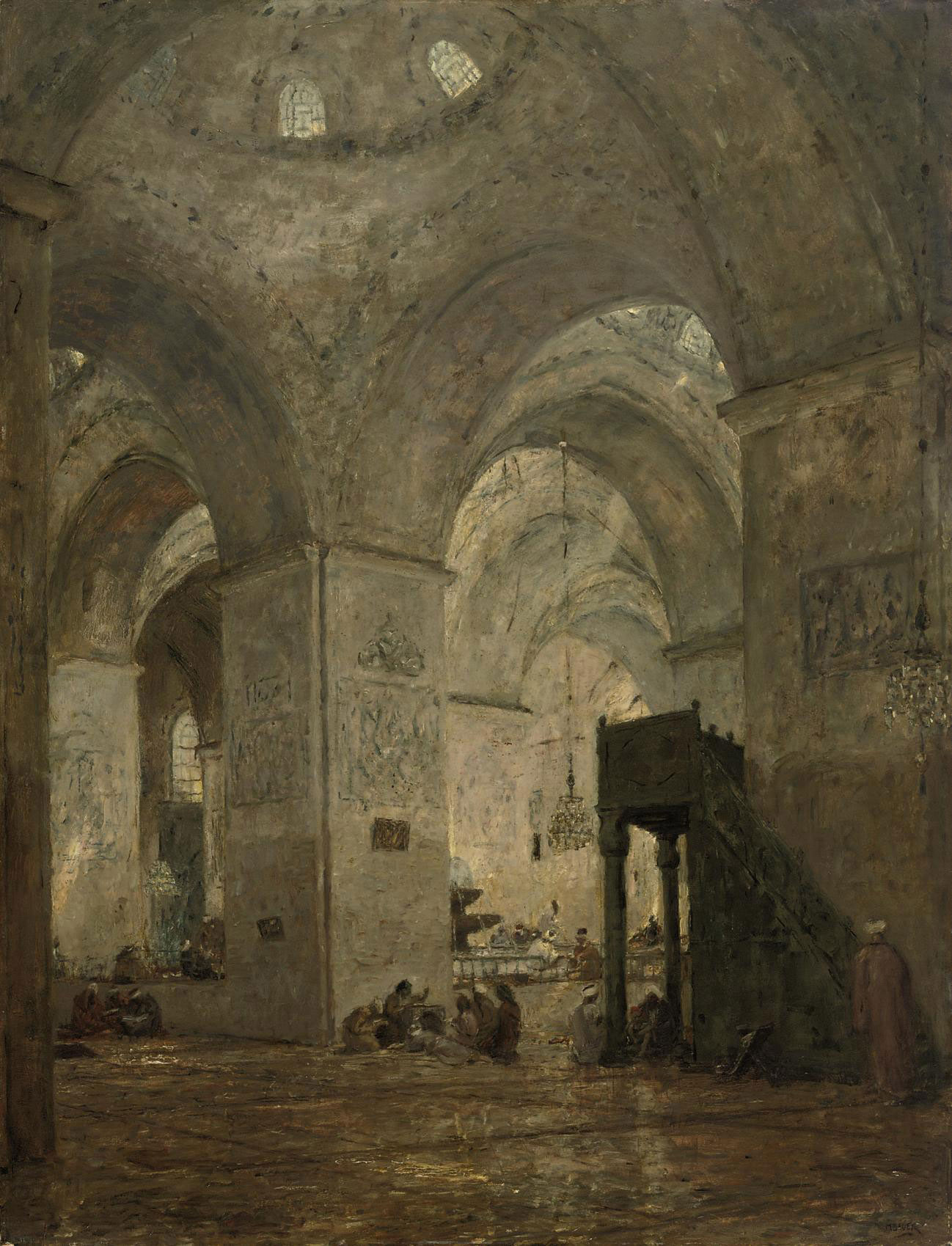 Oosterse Moskee: interior of the Ulu mosque in Bursa, Turkey