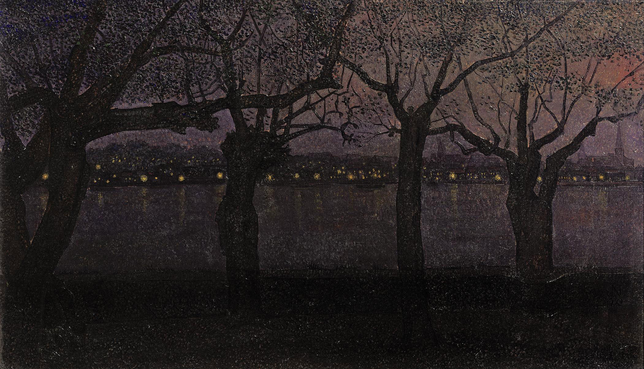 A view of the river Waal by night, Nijmegen
