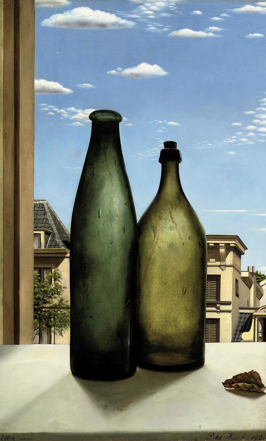 Stilleven met twee flessen: bottles in an open window