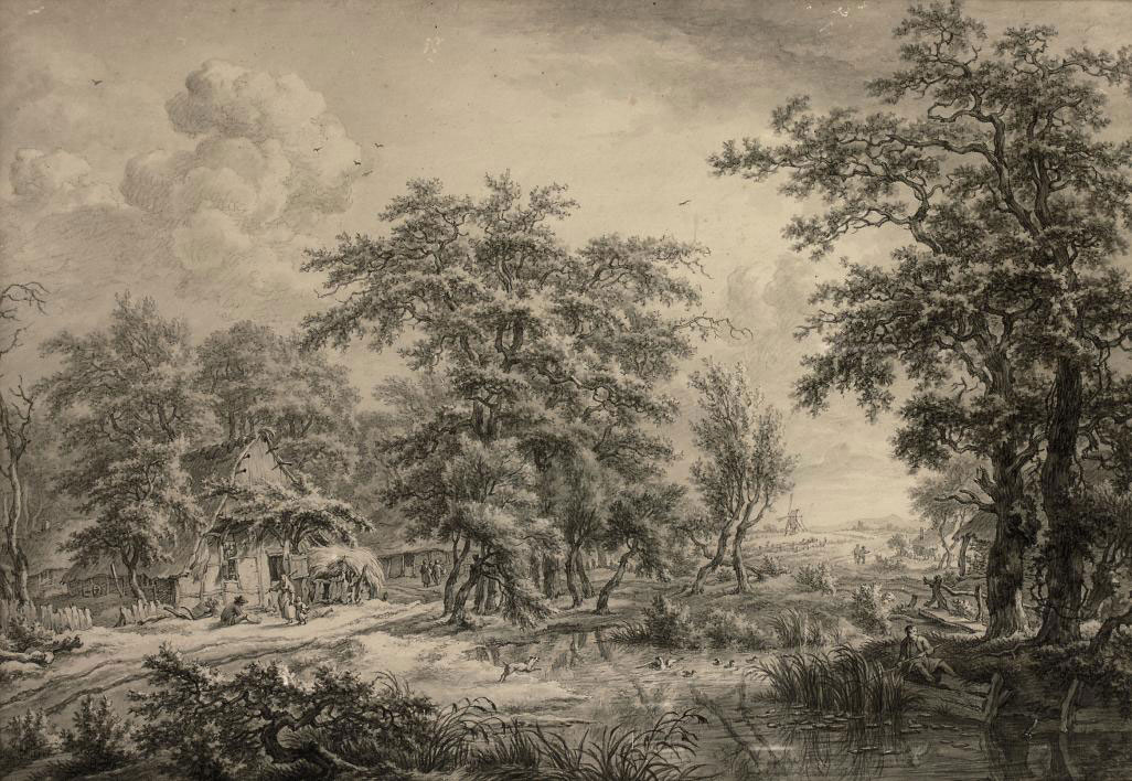 A wooded landscape with figures in a village