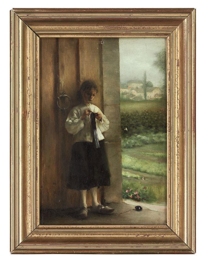 A girl darning in a doorway