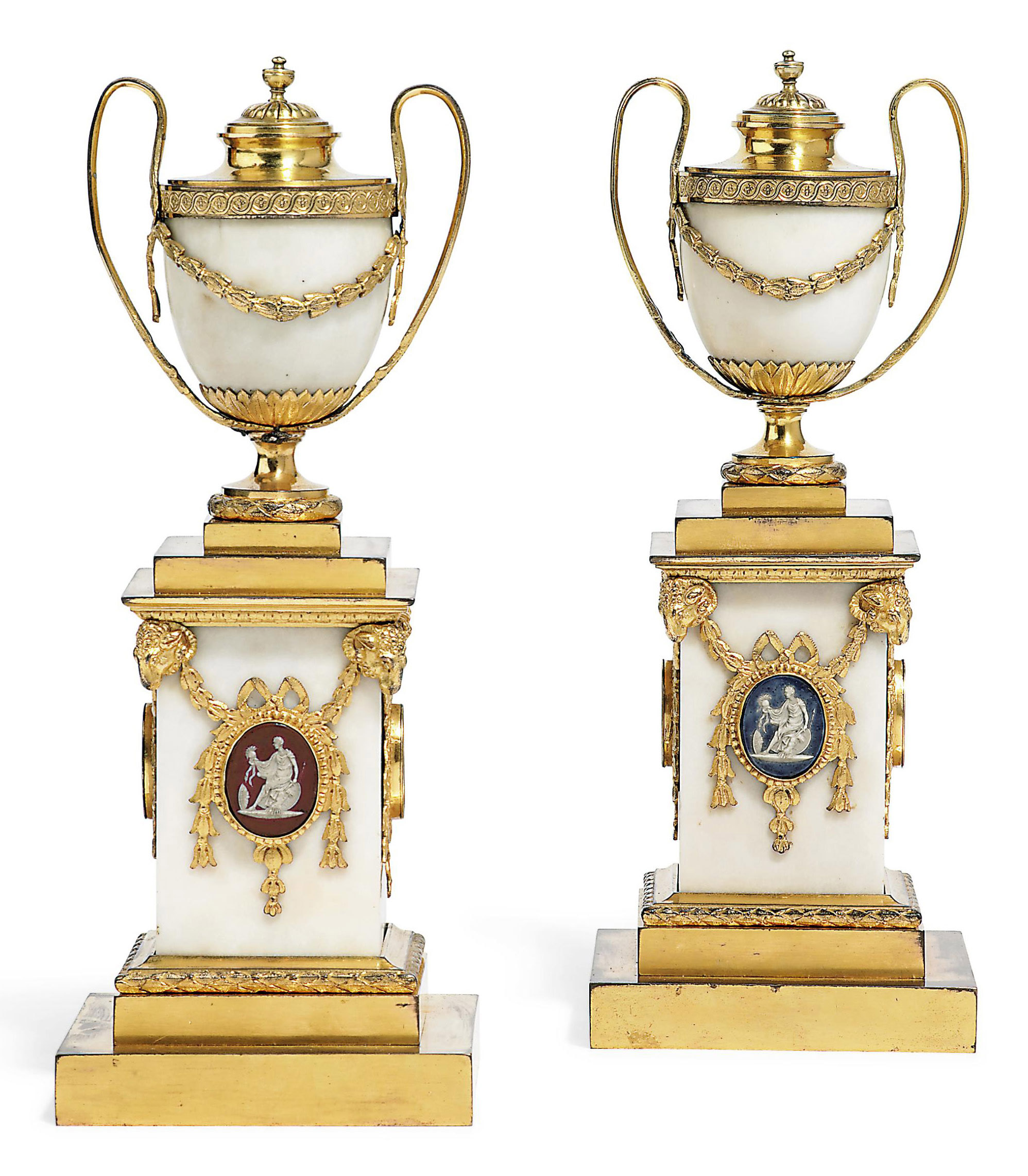 A PAIR OF GEORGE III BISCUIT AND ORMOLU-MOUNTED WHITE MARBLE CASSOLETTE VASES AND COVERS