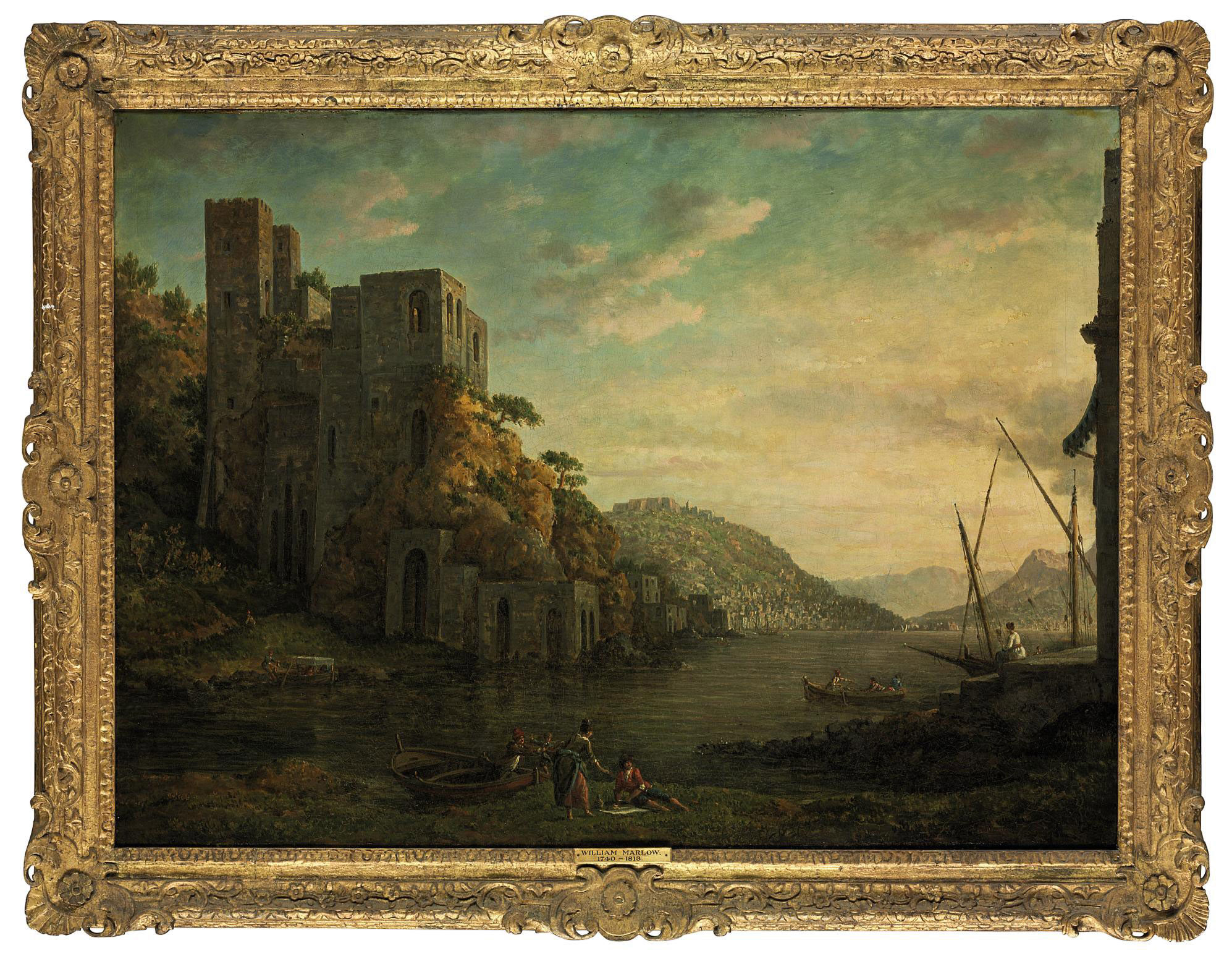 View of the coast near Naples, with figures in rowing boats in the foreground