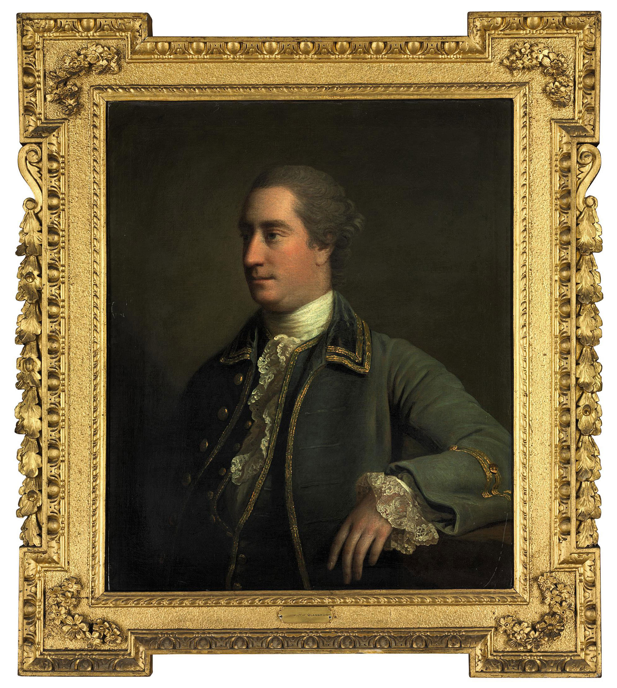 Portrait of a gentleman, traditionally identified as Peter Daly, of Quansbury, half-length, in a gold-embroidered green frock coat and white stock