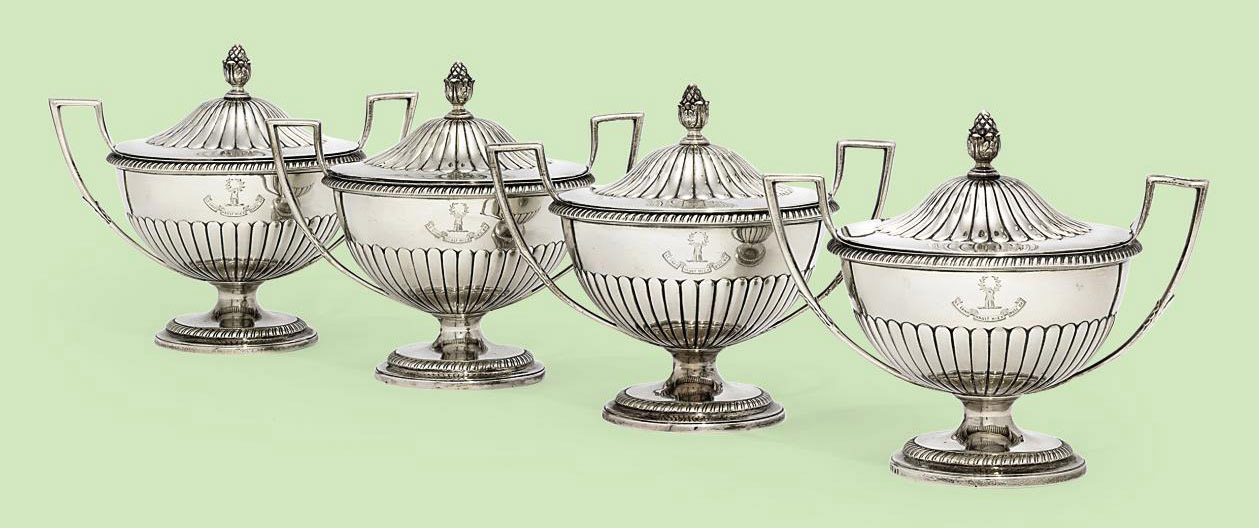A SET OF FOUR GEORGE III SAUCE-TUREENS AND COVERS