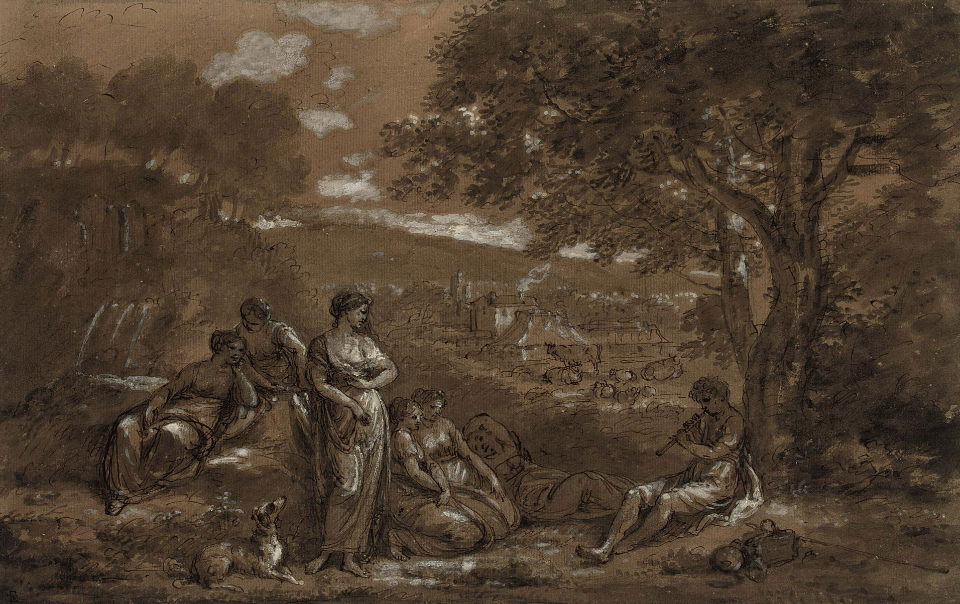 A shepherd piping to nymphs in a pastoral landscape
