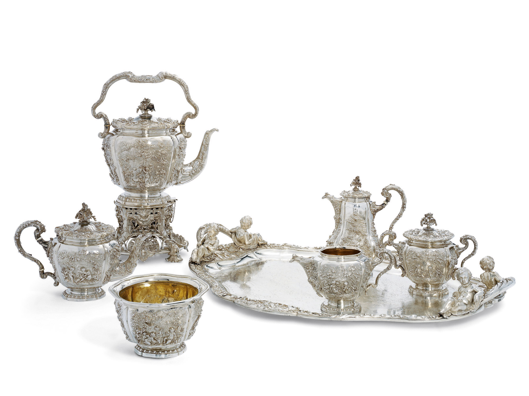A MASSIVE FRENCH SILVER FIVE-PIECE TEA AND COFFEE-SERVICE WITH A TRAY EN SUITE