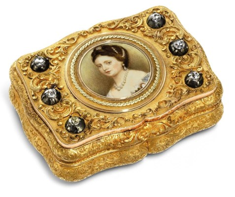 a german jewelled gold presentation snuff box set with a portrait miniature the box by charles. Black Bedroom Furniture Sets. Home Design Ideas