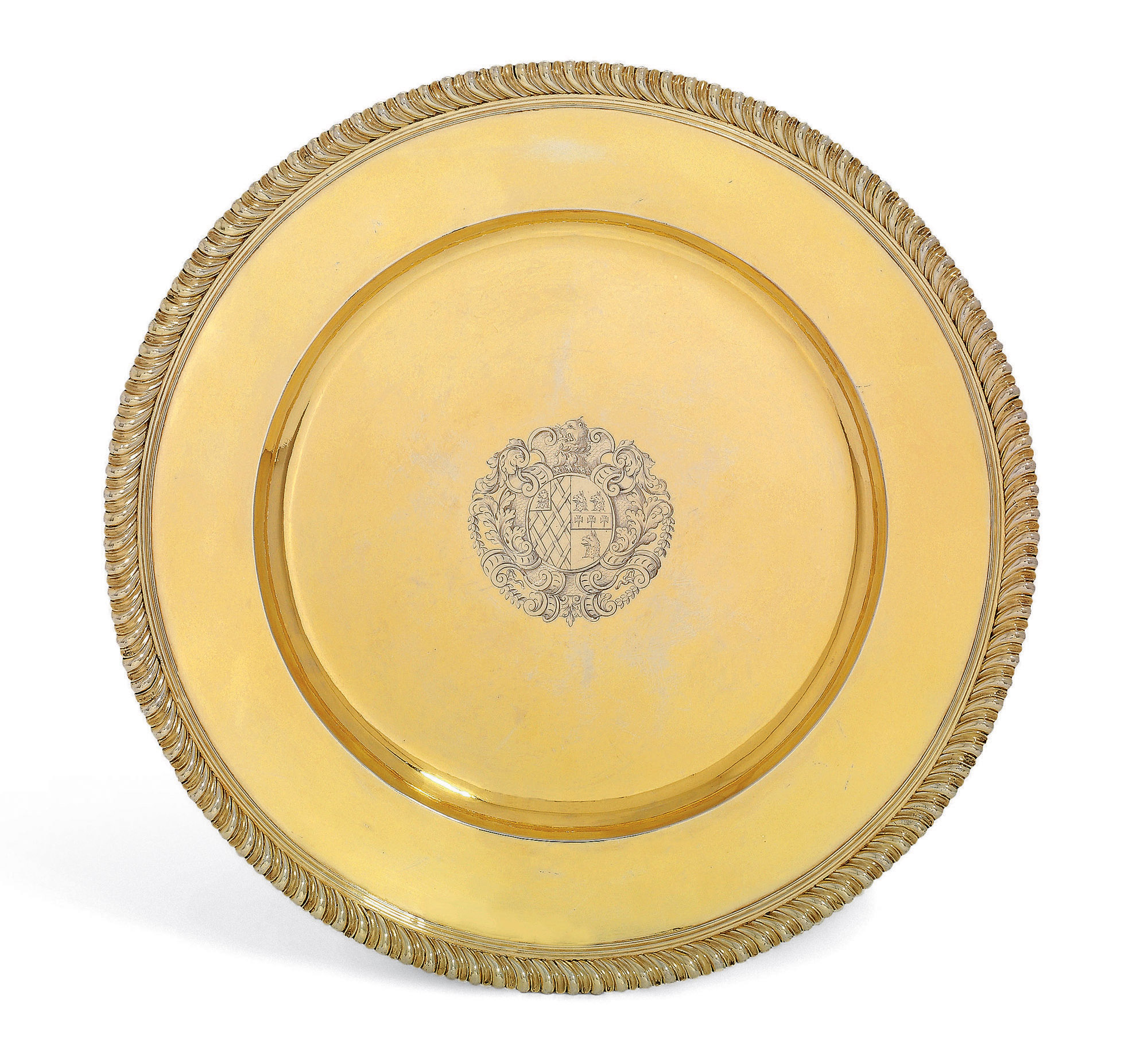 AN IMPORTANT WILLIAM III SILVER-GILT SIDEBOARD-DISH