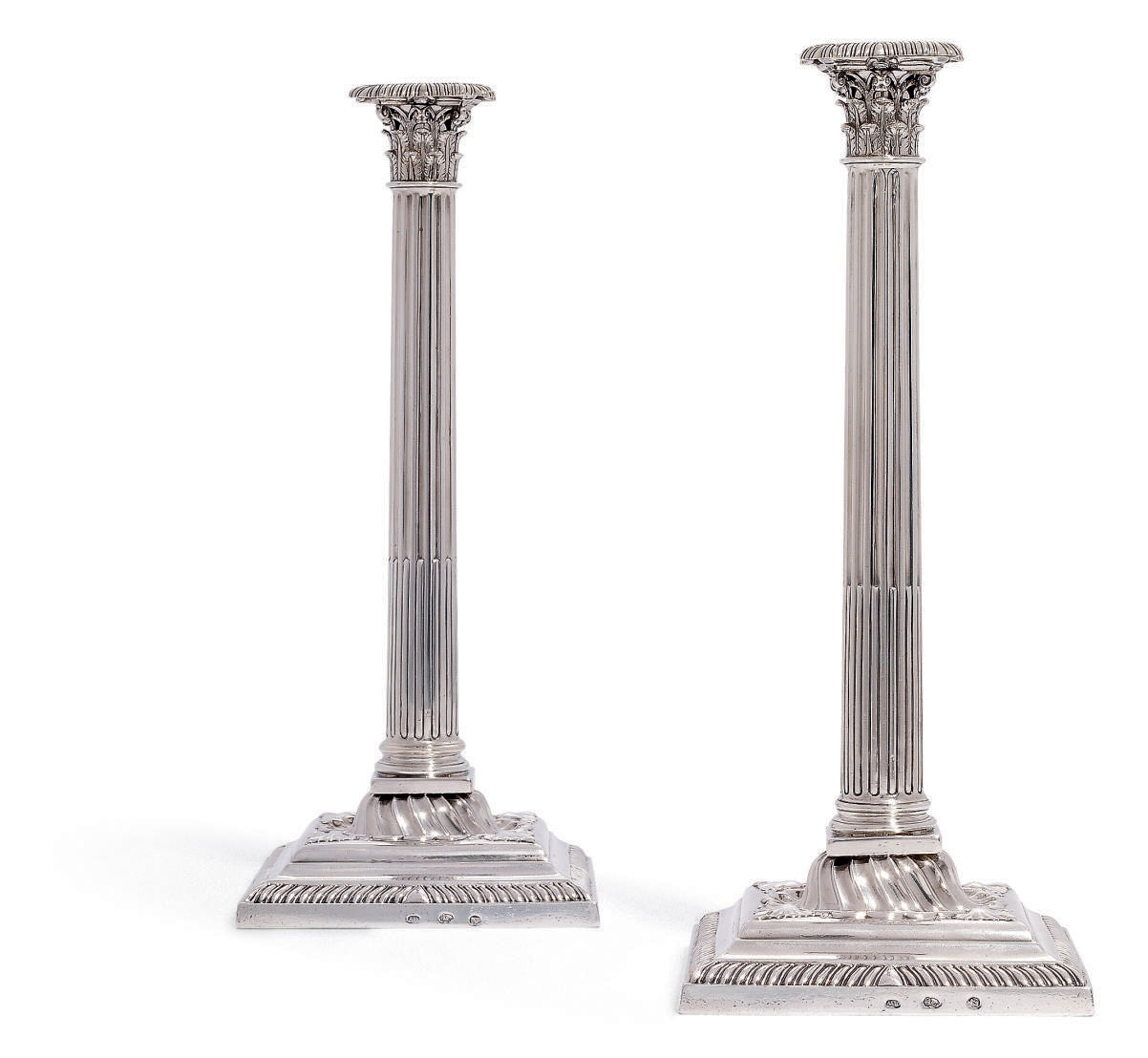 A PAIR OF GEORGE III IRISH SILVER CANDLESTICKS