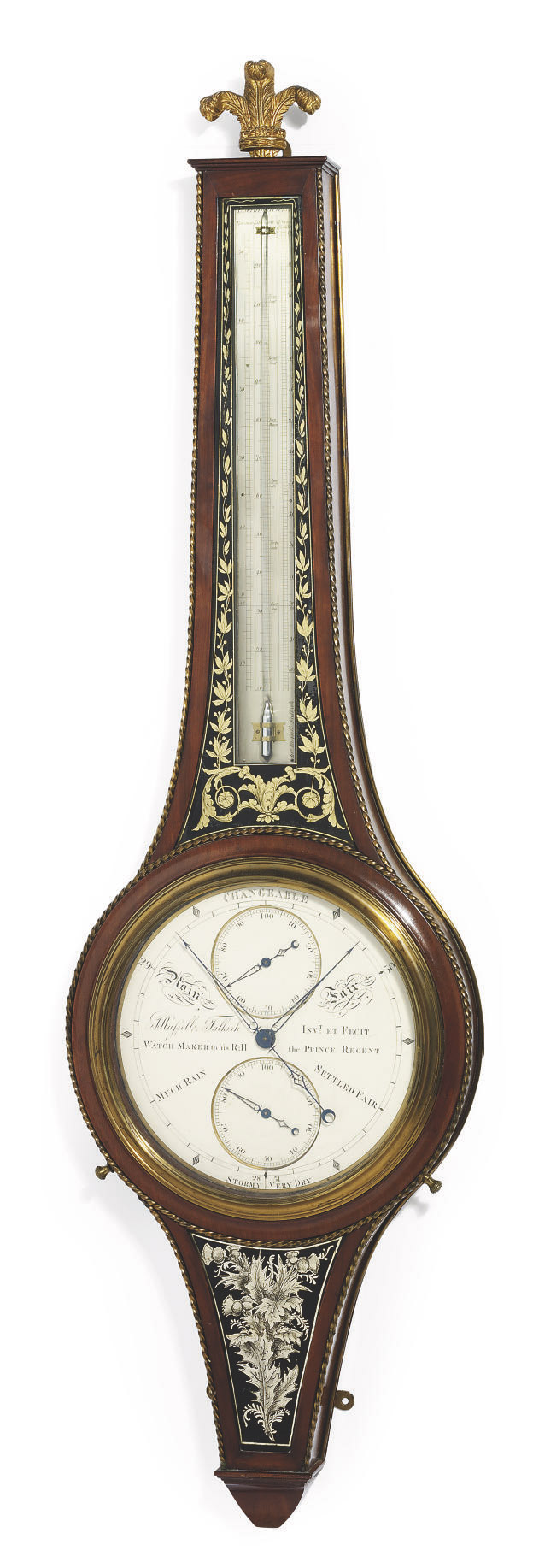 A REGENCY SCOTTISH MAHOGANY, VERRE EGLOMISÉ AND BRASS-MOUNTED WHEEL BAROMETER