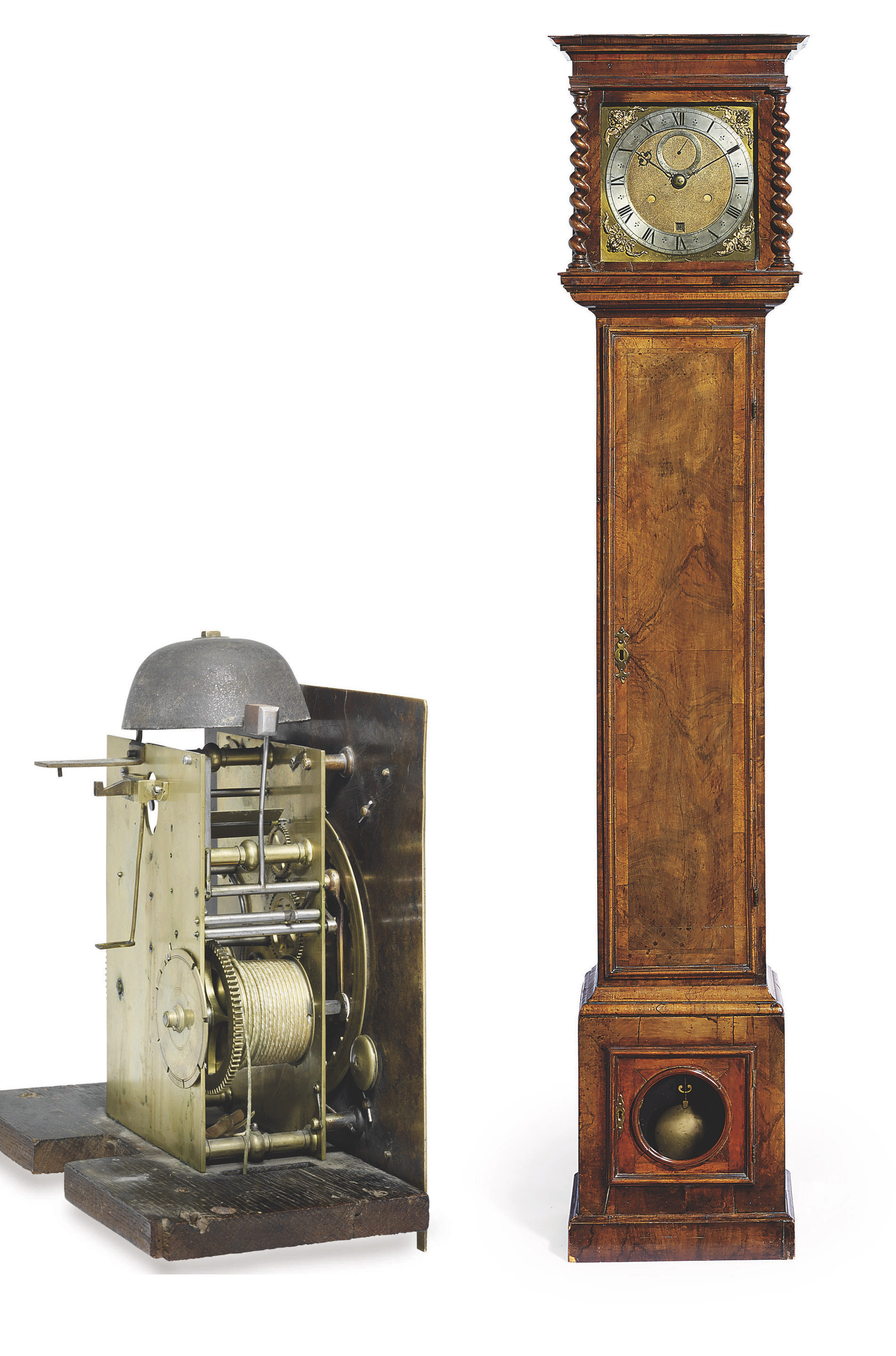 A CHARLES II STRIKING EIGHT DAY LONGCASE CLOCK WITH 1¼ SECONDS PENDULUM