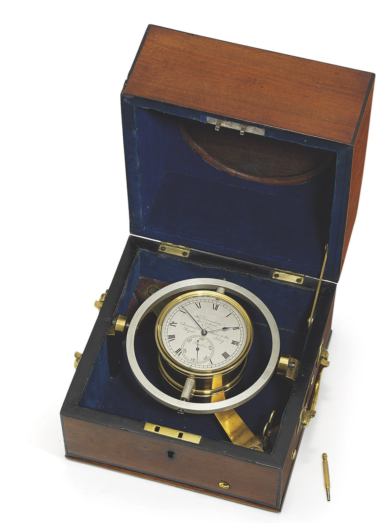 A REGENCY MAHOGANY, EBONY-BANDED AND BRASS-MOUNTED ONE DAY MARINE CHRONOMETER WITH EARNSHAW'S 'QUICK TRAIN'