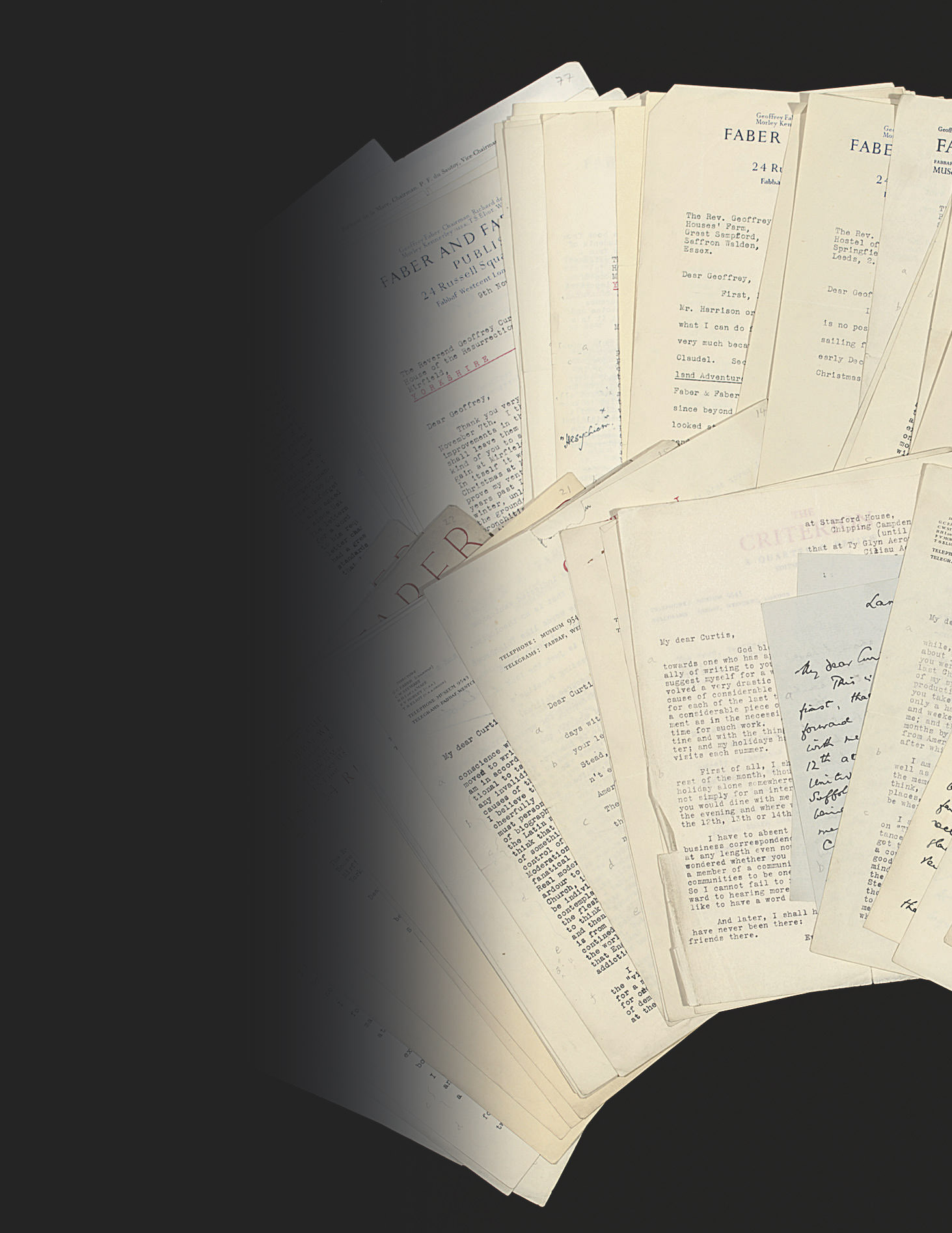 ELIOT, Thomas Stearns (1888-1965). Series of 74 typed letters signed and two autograph letters signed ('T.S. Eliot', 'T.S.E.', 'Tom') to Rev. Geoffrey Curtis, 24 Russell Square, occasionally Cambridge, Guildford, Cardiganshire and elsewhere, 17 June 1930 - 31 July 1964, one letter including an early carbon typescript draft of his poem 'The Cultivation of Christmas Trees' with one line added in autograph, approximately 92 pages, mostly 4to, typescript, and 5 pages, 8vo, in autograph; with 4 related letters and copies.