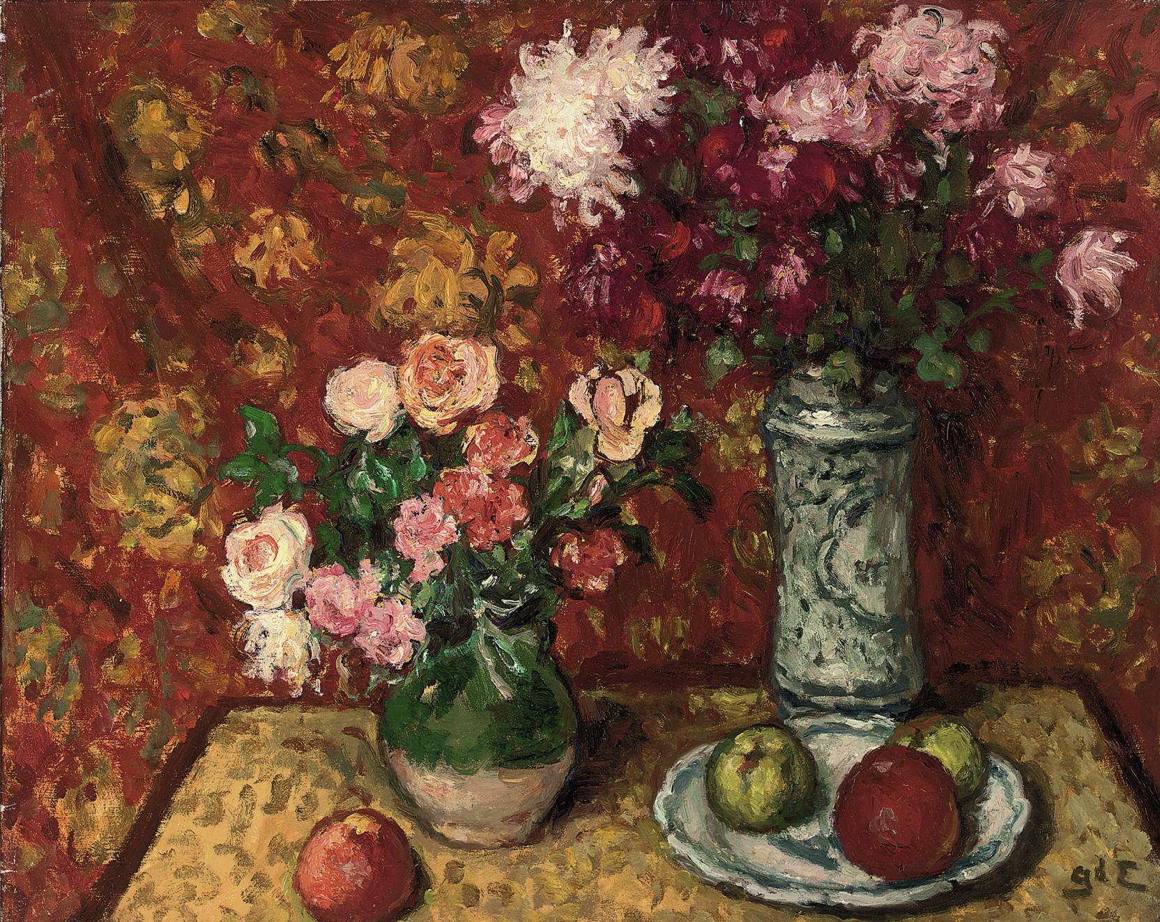 Pommes et vase de fleurs